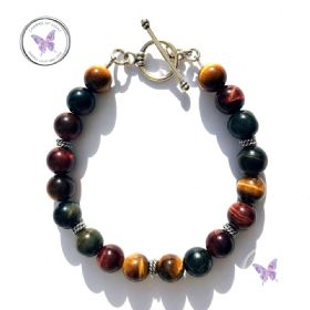 Red Blue Golden Tiger Eye Bracelet
